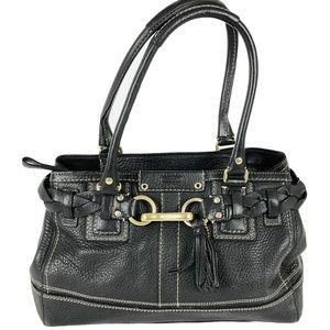 Coach 10528 Hampton Black Pebble Leather Satchel